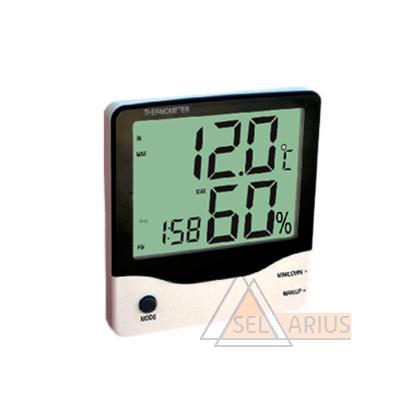 Фото гигрометра-термометра BT-2 с выносным датчиком температуры и часами