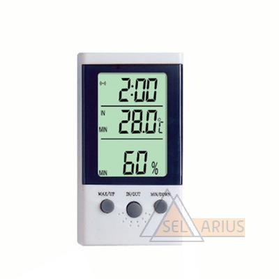 Фото гигрометра-термометра DT-2 (с дополнительным выносным датчиком температуры и часами)
