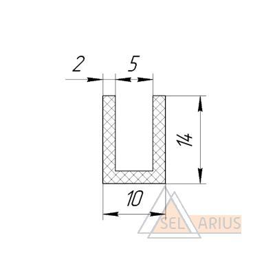 П-образный уплотнитель стекла - габаритный чертеж