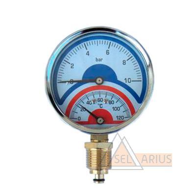 Фото термоманометра 10 bar/120C радиального (индикатор давления и температуры)