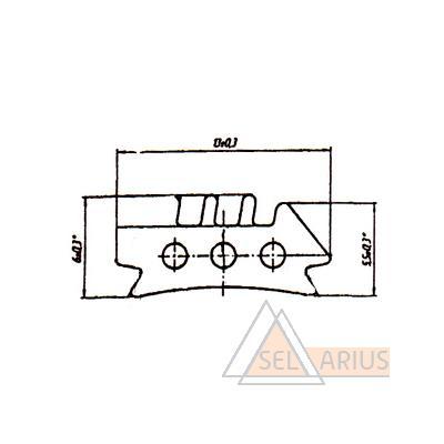 Уплотнитель борта внутренний Р-017-03 - габаритный чертеж