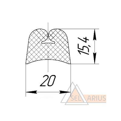 Уплотнитель для окон ЦМВ ДН-07.1179 - габаритный чертеж