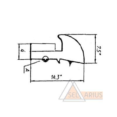 Уплотнитель стеклопакета форточки Р-012-03 - габаритный чертеж
