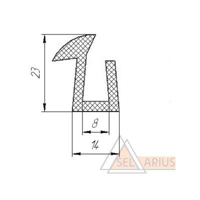 Уплотнитель тамбурных дверей 23*14*8 - габаритный чертеж